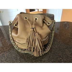 Rebecca Minkoff LEXI tan gold chain bucket bag